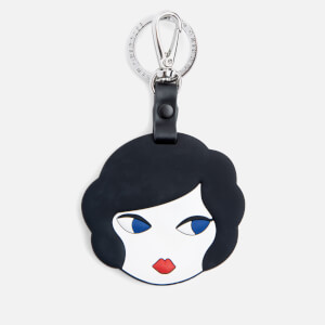 Lulu Guinness Women's Lulu Doll Face Silicone Mirrored Keyring - Blue/White (Free Gift)
