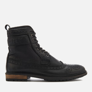 Superdry Men's Brad Brogue Boots - Black Leather