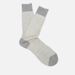 Pantherella Men's Fabian Herringbone Cotton Socks - Mid Grey Mix