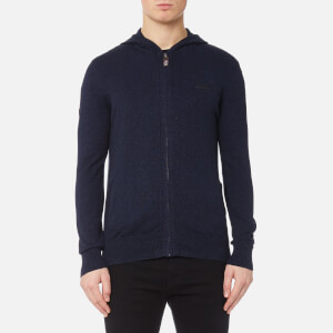 Superdry Men's Orange Label Knitted Zip Hoody - Navy/Black Twist