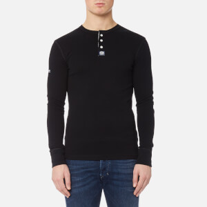 Superdry Men's Heritage Long Sleeve Grandad Top - Black