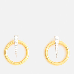 Missoma Women's Mini Pave Spike Front Facing Hoops - Gold