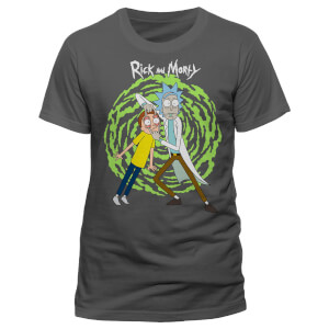 Rick and Morty Portal Spiral T-Shirt - Grau