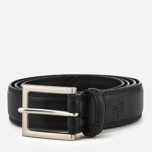 Original Penguin Men's Leather Double Edge Stitch Belt - Black