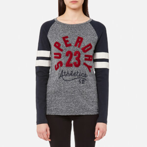 Superdry Women's Applique Raglan Long Sleeve T-Shirt - Grey Marl/Navy