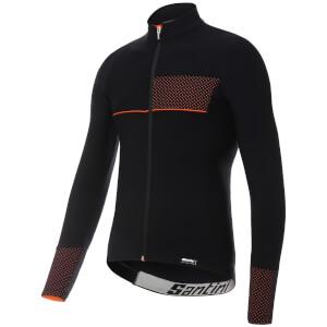 Santini Vega 2.0 Aquazero Long Sleeve Jersey - Black/Orange