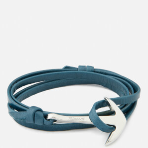 Miansai Men's Leather Bracelet with Silver Anchor - Slate