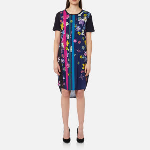 PS by Paul Smith Women's Floral Stripes T-Shirt Dress - Indigo