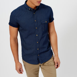 BOSS Orange Men's Elibre Short Sleeve Shirt - Navy