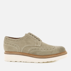 Grenson Men's Archie V Burnished Suede Brogues - Camel