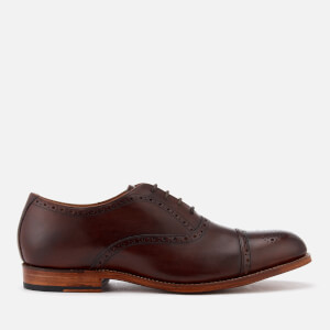 Grenson Men's Matthew Hand Painted Leather Toe Cap Brogues - Dark Brown