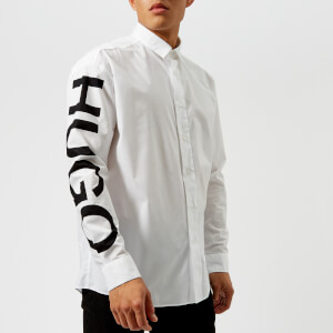 HUGO Men's Emilton Sleeve Logo Shirt - White