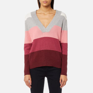 GANT Women's Multi Color Striped V-Neck Jumper - Brandy Apricot