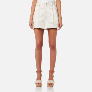 Marc Jacobs Women's Pleated High Waist Shorts with Belt - Cream