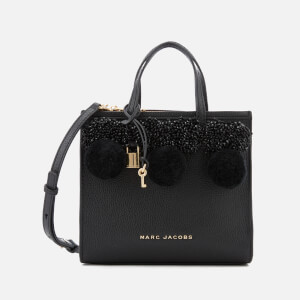 Marc Jacobs Women's Mini Grind Tote Bag with Beads and Pom Poms - Black