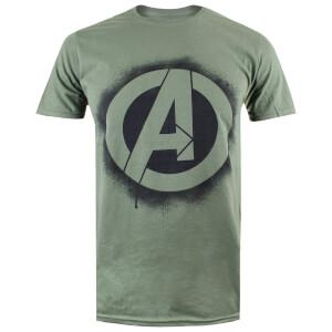 Marvel Men's Avengers Stencil Logo T-Shirt - Mil Green