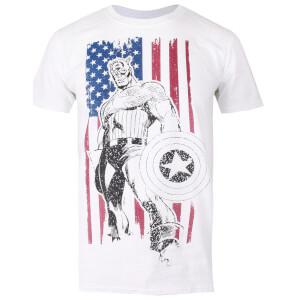 Marvel Men's Captain America Flag T-Shirt - White