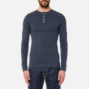 Superdry Men's Heritage Long Sleeve Grandad Top - Marine Blue Marl