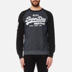 Superdry Men's Vintage Logo Raglan Crew Sweatshirt - Haydock Navy Birdseye Effect