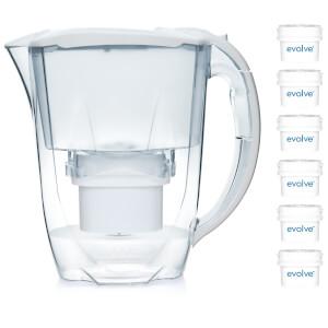 Aqua Optima 2.8L White Oria Water Filter Jug with 6 x 60 Day Evolve Filter Cartridges (12 Month Bundle)