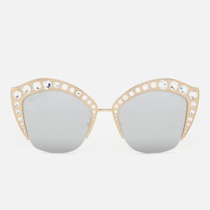 Gucci Women's Cat Eye Sunglasses - Gold/Silver