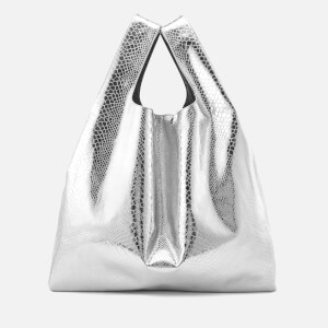 MM6 Maison Margiela Women's Snake Lame Print Shopping Bag - Silver