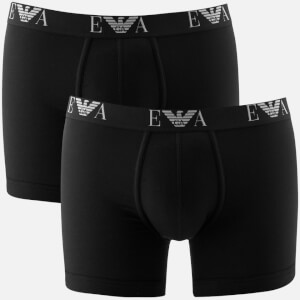 Emporio Armani Men's 2 Pack Cotton Stretch Boxer Shorts - Nero