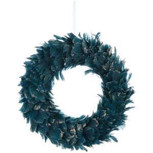 Bark & Blossom Teal Feather Wreath
