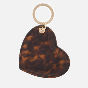 Aspinal of London Women's Patent Heart Keyring - Tortoiseshell