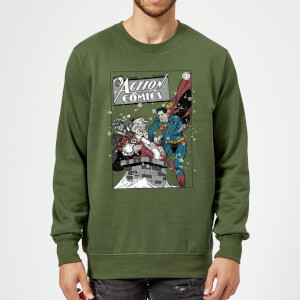 DC Comics Originals Superman Action Comics Green Christmas Sweater