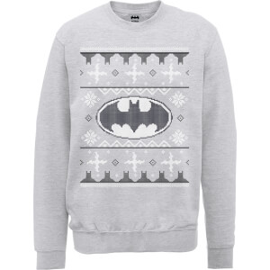 DC Batman Christmas Knit Logo Grey Christmas Sweatshirt