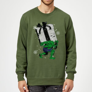 Marvel Comics The Incredible Hulk Christmas Present Green Christmas Sweater