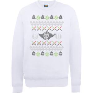 Star Wars Yoda Christmas Knit White Christmas Sweatshirt