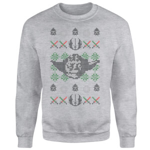 Star Wars Yoda Face Knit Grey Christmas Sweater