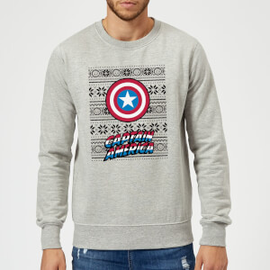 Marvel Comics Captain America Caps Shield Grey Christmas Sweater