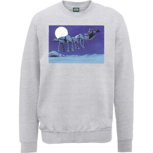 Star Wars Darth Vader AT-AT Christmas Sleigh Grey Christmas Sweatshirt