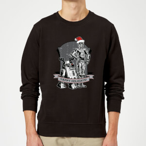 Star Wars Happy Holidays Droids Black Christmas Sweater
