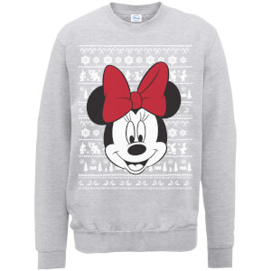 Disney Minnie Mouse Christmas Minnie Face Grey Christmas Sweater