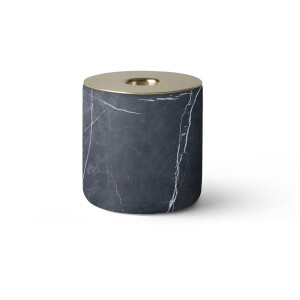 Menu Chunk of Marble Candle Holder - Black/Brass - Large