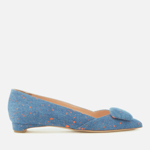 Rupert Sanderson Women's Aga Pointed Flats - Tangerine Splash Denim