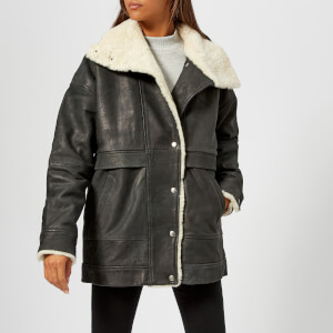 Gestuz Women's Lilli Jacket with Sheepskin Trim - Black