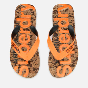 Superdry Men's Cork Flip Flops - Black Fleck/Fluro Orange