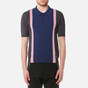 Dsquared2 Men's 3 Button Striped Knitted Polo Shirt - Grey/White/Pink