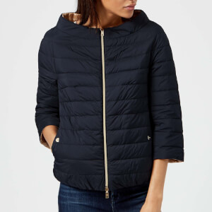 Herno Women's Matt and Shiny 3/4 Sleeve Coat - Navy/Gold