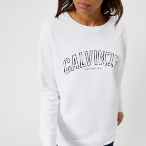 Calvin Klein Women's Core Fit Crew Neck Sweatshirt - White