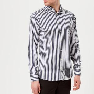 Eton Men's Slim Fit Butcher Stripe Extreme Cut Away Collar Shirt - Navy