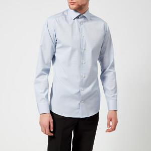 Eton Men's Slim Fit Micro Check with Palm Print Trim Shirt - Blue