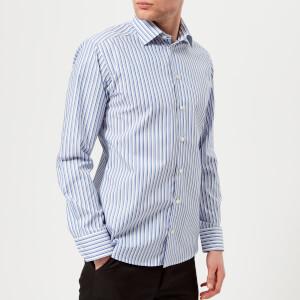 Eton Men's Slim Fit Striped Single Cuff Shirt - Blue