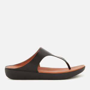 FitFlop Women's Banda II Leather Toe Post Sandals - Black