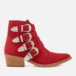 Toga Pulla Women's Buckle Side Suede Heeled Ankle Boots - Red/Natural Sole